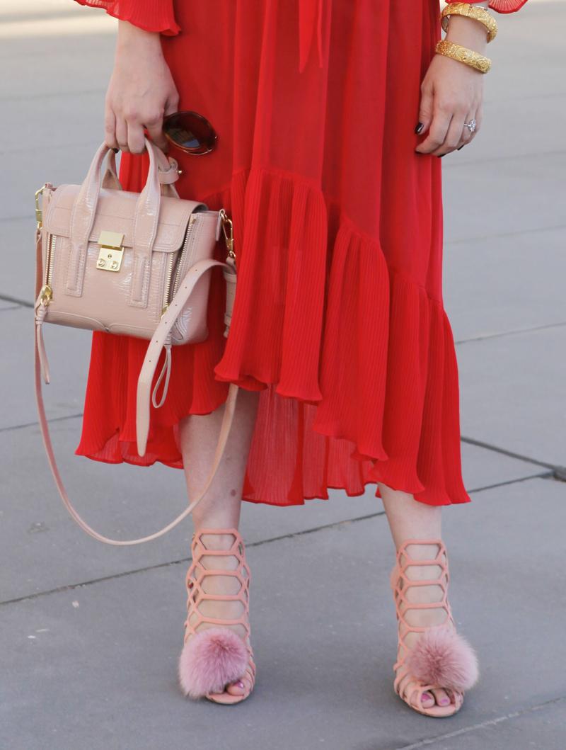 3.1 Phillip Lim Mini Pashli bag with pom pom heels
